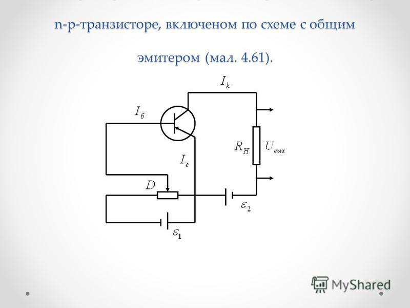 Рассмотрим физические процессы, происходящие в p- n-p-транзисторе, включенном по схеме с общим эмиттером (мал. 4.61).