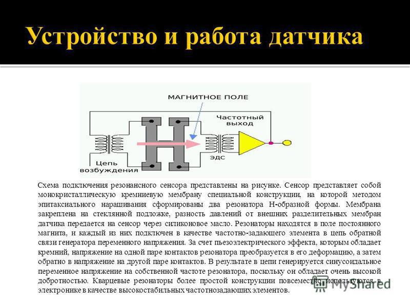 Схема подключения резонансного сенсора представлены на рисунке. Сенсор представляет собой монокристаллическую кремниевую мембрану специальной конструкции, на которой методом эпитаксиального наращивания сформированы два резонатора Н-образной формы. Ме