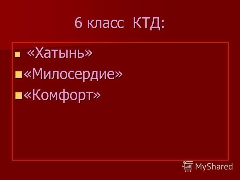6 класс КТД: «Хатынь» «Хатынь» «Милосердие» «Милосердие» «Комфорт» «Комфорт»
