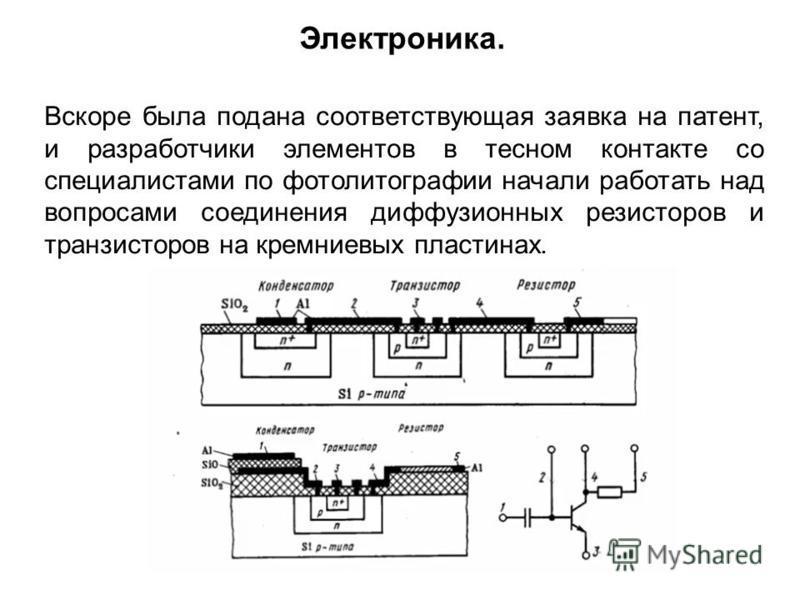 Вскоре была подана соответствующая заявка на патент, и разработчики элементов в тесном контакте со специалистами по фотолитографии начали работать над вопросами соединения диффузионных резисторов и транзисторов на кремниевых пластинах. Электроника.