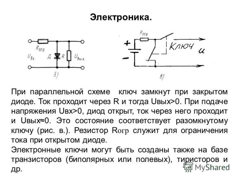При параллельной схеме ключ замкнут при закрытом диоде. Ток проходит через R и тогда Uвых>0. При подаче напряжения Uвх>0, диод открыт, ток через него проходит и Uвых 0. Это состояние соответствует разомкнутому ключу (рис. в.). Резистор R oгp служит д