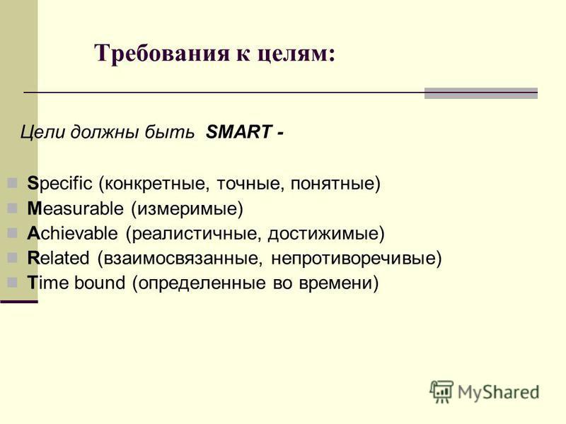 Требования к целям: Цели должны быть SMART - Specific (конкретные, точные, понятные) Measurable (измеримые) Achievable (реалистичные, достижимые) Related (взаимосвязанные, непротиворечивые) Time bound (определенные во времени)