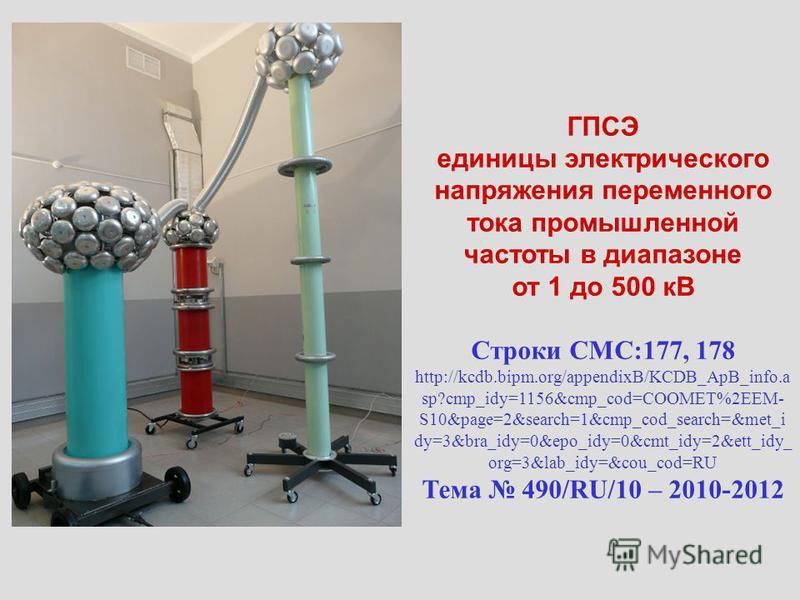ГПСЭ единицы электрического напряжения переменного тока промышленной частоты в диапазоне от 1 до 500 кВ Строки CMC:177, 178 http://kcdb.bipm.org/appendixB/KCDB_ApB_info.a sp?cmp_idy=1156&cmp_cod=COOMET%2EEM- S10&page=2&search=1&cmp_cod_search=&met_i