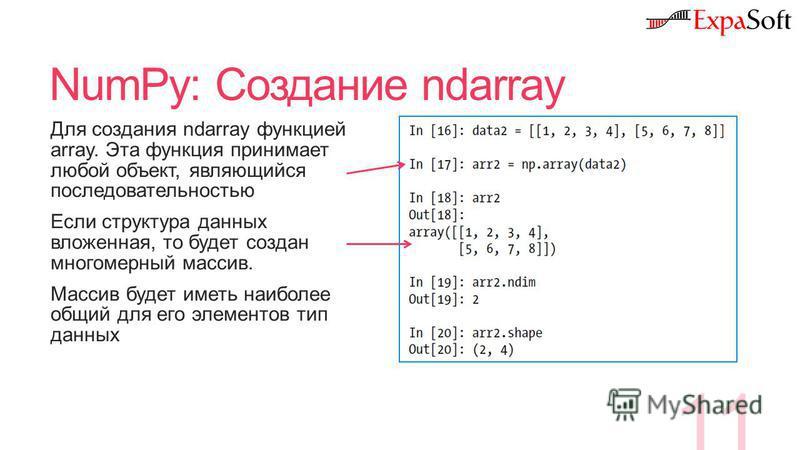 NumPy: Создание ndarray 11 Для создания ndarray функцией array. Эта функция принимает любой объект, являющийся последовательностью Если структура данных вложенная, то будет создан многомерный массив. Массив будет иметь наиболее общий для его элементо