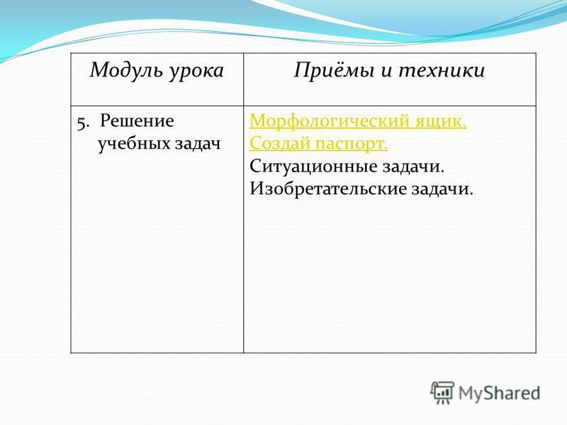Модуль урока Приёмы и техники 5. Решение учебных задач Морфологический ящик. Создай паспорт. Ситуационные задачи. Изобретательские задачи.