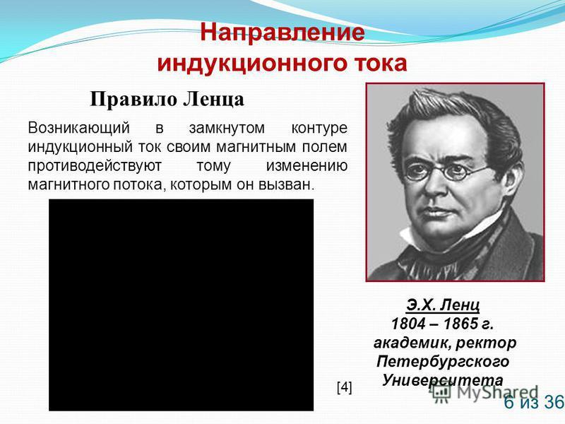 Направление индукционного тока Правило Ленца Э.Х. Ленц 1804 – 1865 г. академик, ректор Петербургского Университета Возникающий в замкнутом контуре индукционный ток своим магнитным полем противодействуют тому изменению магнитного потока, которым он вы