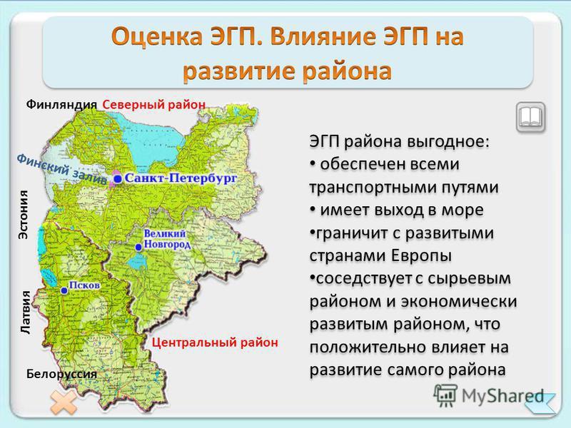 Северный район Центральный район Финляндия Белоруссия Эстония Латвия Финский залив ЭГП района выгодное: обеспечен всеми транспортными путями имеет выход в море граничит с развитыми странами Европы соседствует с сырьевым районом и экономически развиты