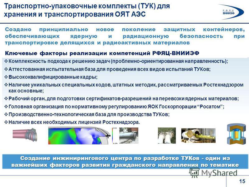 15 Транспортно-упаковочные комплекты (ТУК) для хранения и транспортирования ОЯТ АЭС Комплексность подхода к решению задач (проблемно-ориентированная направленность); Аттестованная испытательная база для проведения всех видов испытаний ТУКов; Высококв