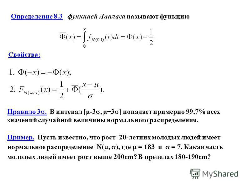 Определение 8.3 функцией Лапласа называют функцию Правило 3. В интервал [μ-3, μ+3 ] попадает примерно 99,7% всех значений случайной величины нормального распределения. Пример. Пусть известно, что рост 20-летних молодых людей имеет нормальное распреде