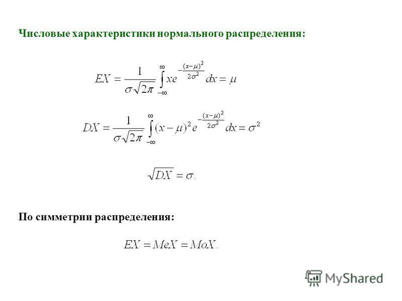 По симметрии распределения: Числовые характеристики нормального распределения: