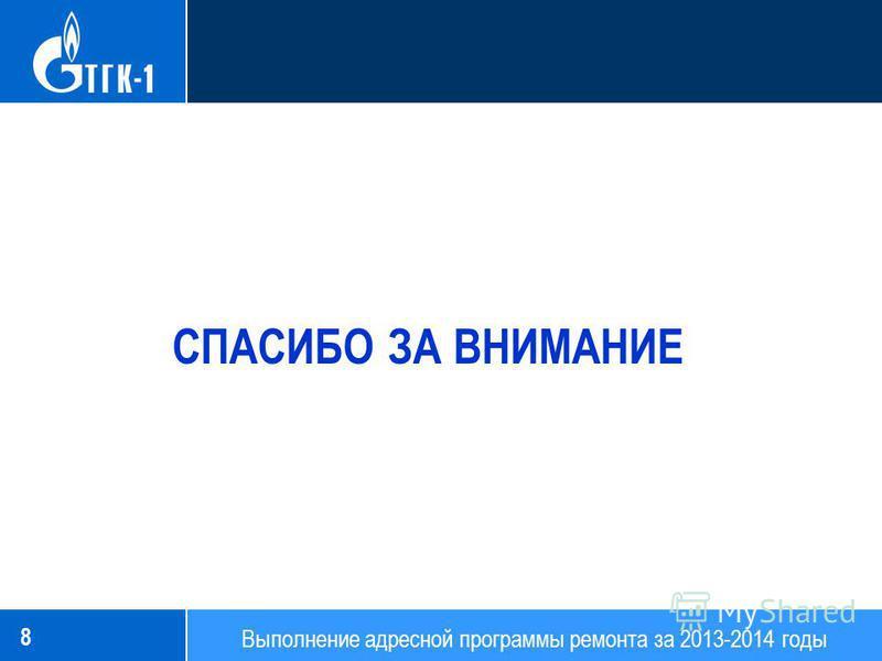 8 Выполнение адресной программы ремонта за 2013-2014 годы СПАСИБО ЗА ВНИМАНИЕ