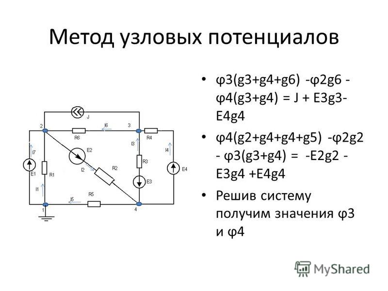 Метод узловых потенциалов ϕ3(g3+g4+g6) -ϕ2g6 - ϕ4(g3+g4) = J + E3g3- E4g4 ϕ4(g2+g4+g4+g5) -ϕ2g2 - ϕ3(g3+g4) = -E2g2 - E3g4 +E4g4 Решив систему получим значения ϕ3 и ϕ4
