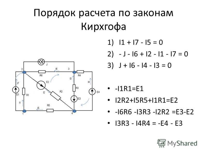 Порядок расчета по законам Кирхгофа 1)I1 + I7 - I5 = 0 2)- J - I6 + I2 - I1 - I7 = 0 3)J + I6 - I4 - I3 = 0 -I1R1=E1 I2R2+I5R5+I1R1=E2 -I6R6 -I3R3 -I2R2 =E3-E2 I3R3 - I4R4 = -E4 - E3
