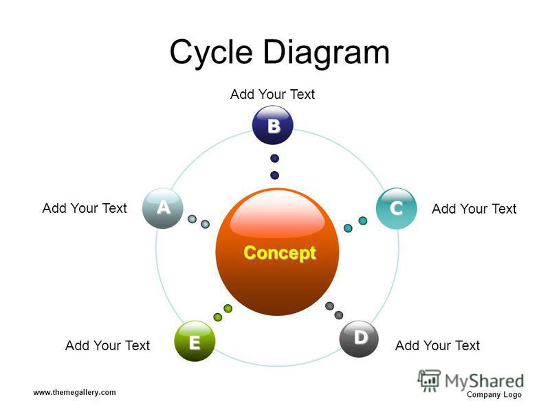 www.themegallery.com Company Logo Cycle Diagram Concept B E C D A Add Your Text