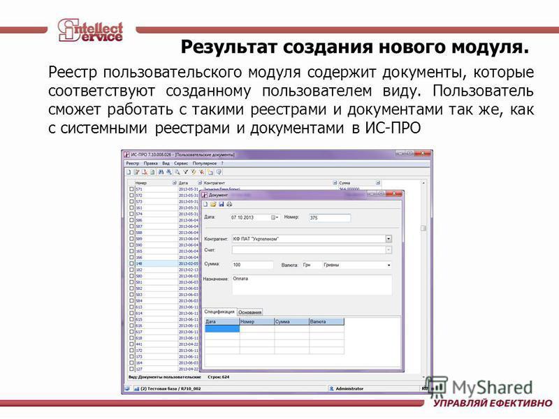 Реестр пользовательского модуля содержит документы, которые соответствуют созданному пользователем виду. Пользователь сможет работать с такими реестрами и документами так же, как с системными реестрами и документами в ИС-ПРО Результат создания нового
