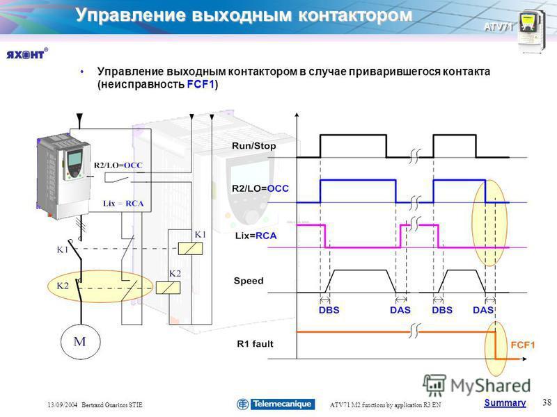 Summary ATV71 38 13/09/2004 Bertrand Guarinos STIEATV71 M2 functions by application R3 EN Управление выходным контактором Управление выходным контактором в случае приварившегося контакта (неисправность FCF1)