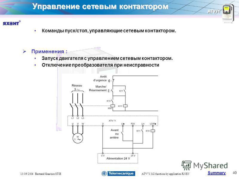 Summary ATV71 40 13/09/2004 Bertrand Guarinos STIEATV71 M2 functions by application R3 EN Управление сетевым контактором Команды пуск/стоп, управляющие сетевым контактором. Применения : Запуск двигателя с управлением сетевым контактором. Отключение п