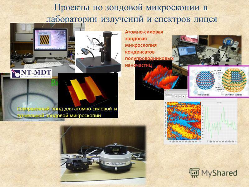 Проекты по зондовой микроскопии в лаборатории излучений и спектров лицея Атомно-силовая зондовая микроскопия конденсатов полупроводниковых наночастиц Совершенный зонд для атомно-силовой и туннельной зондовой микроскопии