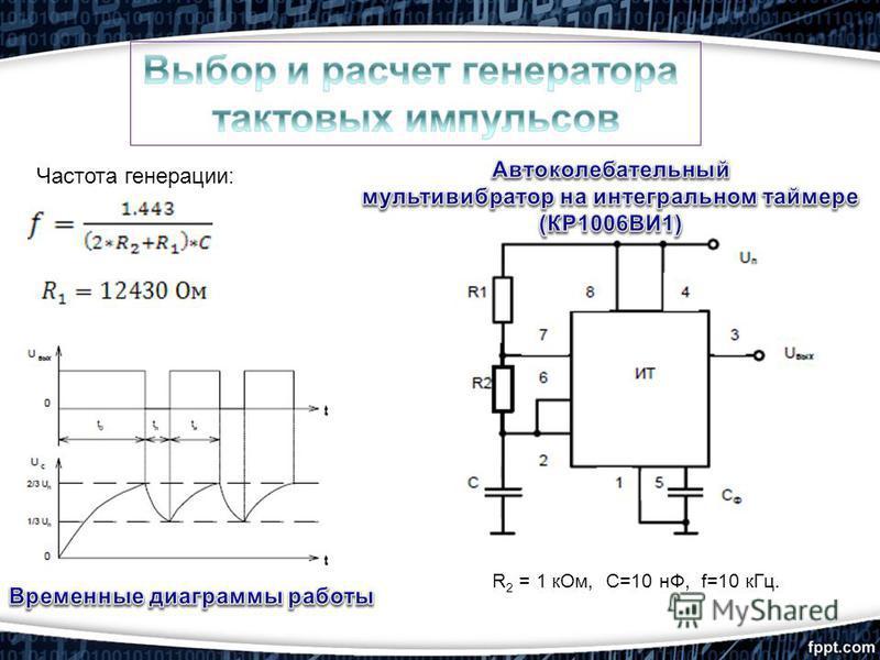 R 2 = 1 к Ом, С=10 нФ, f=10 к Гц. Частота генерации: