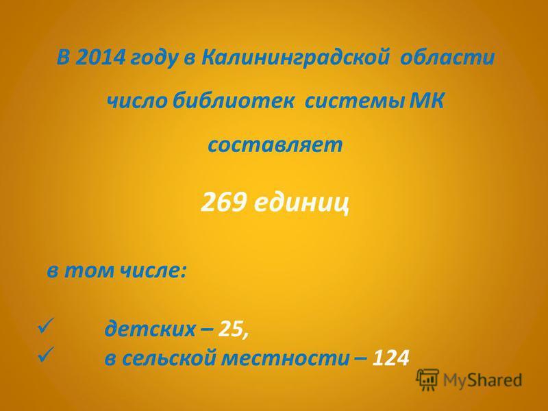 В 2014 году в Калининградской области число библиотек системы МК составляет 269 единиц в том числе: детских – 25, в сельской местности – 124