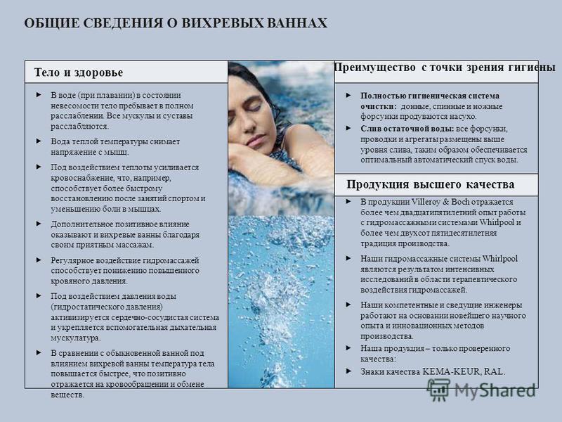 ОБЩИЕ СВЕДЕНИЯ О ВИХРЕВЫХ ВАННАХ В воде (при плавании) в состоянии невесомости тело пребывает в полном расслаблении. Все мускулы и суставы расслабляются. Вода теплой температуры снимает напряжение с мышц. Под воздействием теплоты усиливается кровосна