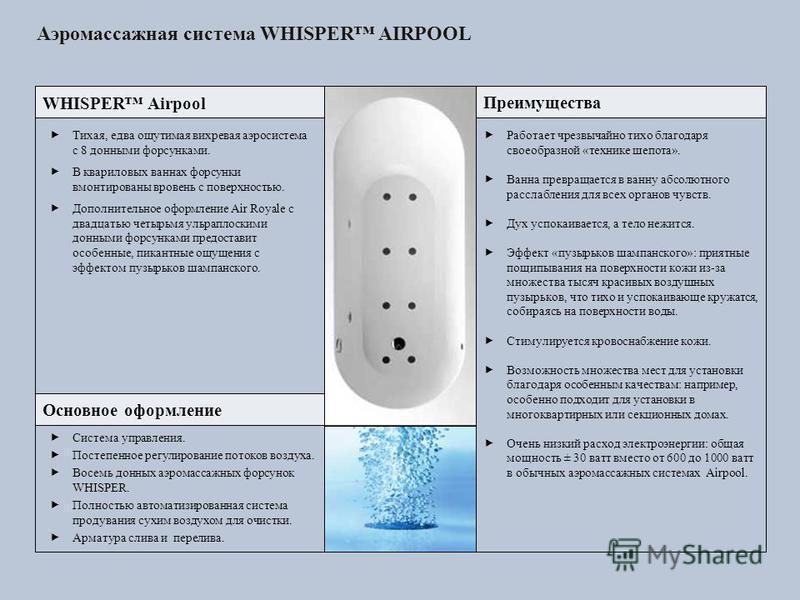 Аэромассажная система WHISPER AIRPOOL WHISPER Airpool Тихая, едва ощутимая вихревая аэросистема с 8 донными форсунками. В квариловых ваннах форсунки вмонтированы вровень с поверхностью. Дополнительное оформление Air Royale с двадцатью четырьмя ульрап