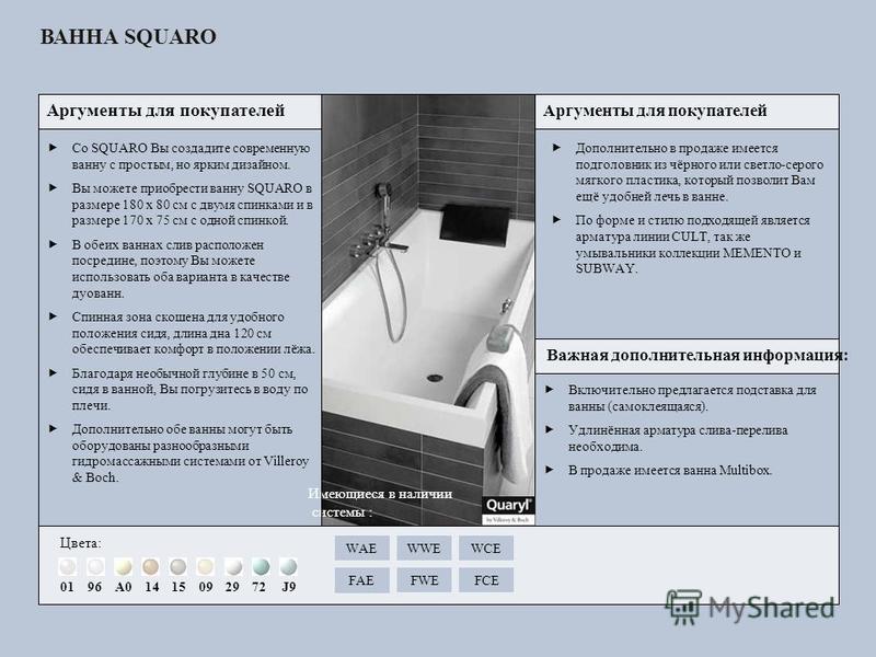 Включительно предлагается подставка для ванны (самоклеящаяся). Удлинённая арматура слива-перелива необходима. В продаже имеется ванна Multibox. Со SQUARO Вы создадите современную ванну с простым, но ярким дизайном. Вы можете приобрести ванну SQUARO в