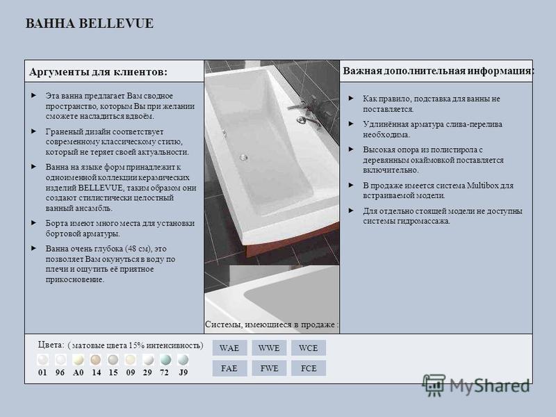 Как правило, подставка для ванны не поставляется. Удлинённая арматура слива-перелива необходима. Высокая опора из полистирола с деревянным окаймовкой поставляется включительно. В продаже имеется система Multibox для встраиваемой модели. Для отдельно