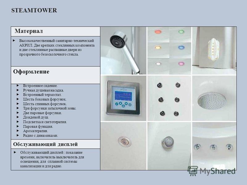 Материал Оформление Обслуживающий дисплей Обслуживающий дисплей : показание времени, включатель/выключатель для освещения, для сплавной системы канализации и для радио. Высококачественный санитарно-технический АКРИЛ. Две крепких стеклянных компонента
