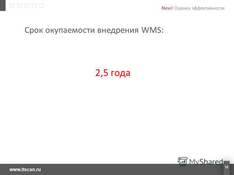 www.itscan.ru 19 Срок окупаемости внедрения WMS: 2,5 года New! Оценка эффективности