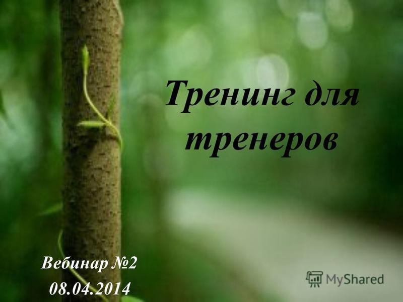 Тренинг для тренеров Вебинар 2 08.04.2014