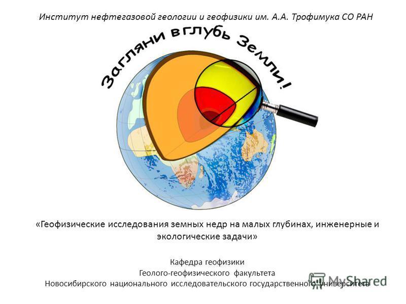 Кафедра геофизики Геолого-геофизического факультета Новосибирского национального исследовательского государственного университета «Геофизические исследования земных недр на малых глубинах, инженерные и экологические задачи» Институт нефтегазовой геол