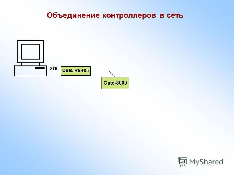 Объединение контроллеров в сеть Gate-8000 USB/ RS485 USB