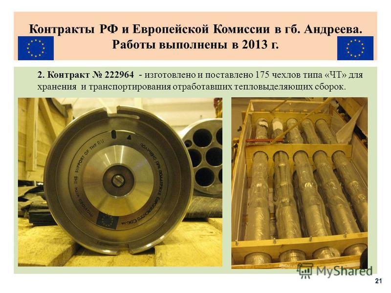 Контракты РФ и Европейской Комиссии в гб. Андреева. Работы выполнены в 2013 г. 2. Контракт 222964 - изготовлено и поставлено 175 чехлов типа «ЧТ» для хранения и транспортирования отработавших тепловыделяющих сборок. 21