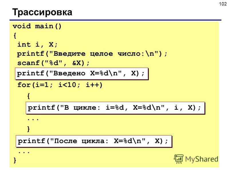102 Трассировка printf(Введено X=%d\n, X); printf(В цикле: i=%d, X=%d\n, i, X); printf(После цикла: X=%d\n, X); void main() { int i, X; printf(Введите целое число:\n); scanf(%d, &X); for(i=1; i