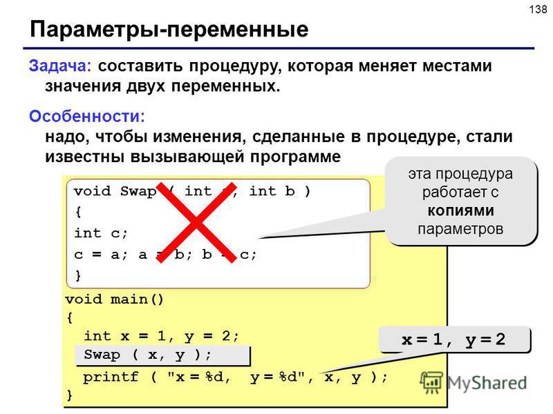138 Параметры-переменные Задача: составить процедуру, которая меняет местами значения двух переменных. Особенности: надо, чтобы изменения, сделанные в процедуре, стали известны вызывающей программе void main() { int x = 1, y = 2; Swap ( x, y ); print
