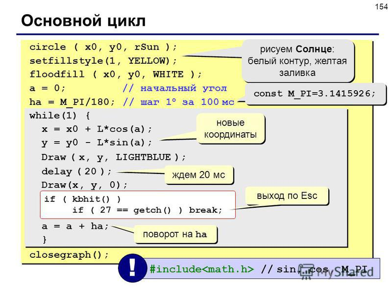 154 Основной цикл circle ( x0, y0, rSun ); setfillstyle(1, YELLOW); floodfill ( x0, y0, WHITE ); a = 0; // начальный угол ha = M_PI/180; // шаг 1 o за 100 мс while(1) { x = x0 + L*cos(a); y = y0 - L*sin(a); Draw ( x, y, LIGHTBLUE ); delay ( 20 ); Dra