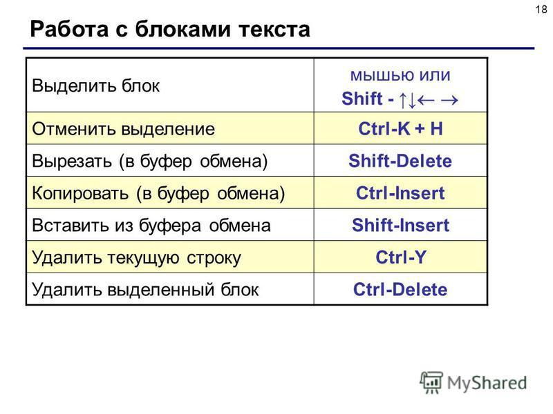 18 Работа с блоками текста Выделить блок мышью или Shift - Отменить выделение Ctrl-K + H Вырезать (в буфер обмена) Shift-Delete Копировать (в буфер обмена) Ctrl-Insert Вставить из буфера обмена Shift-Insert Удалить текущую строку Ctrl-Y Удалить выдел