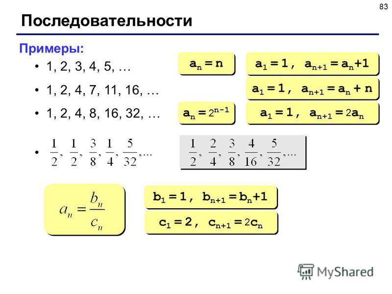 83 Последовательности Примеры: 1, 2, 3, 4, 5, … 1, 2, 4, 7, 11, 16, … 1, 2, 4, 8, 16, 32, … an = nan = n an = nan = n a 1 = 1, a n+1 = a n +1 a 1 = 1, a n+1 = a n + n a n = 2 n-1 a 1 = 1, a n+1 = 2 a n b 1 = 1, b n+1 = b n +1 c 1 = 2, c n+1 = 2 c n