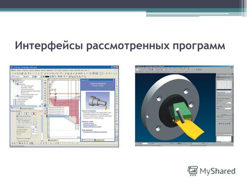 Интерфейсы рассмотренных программ