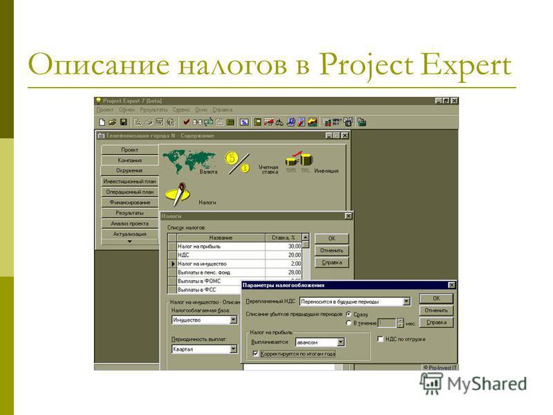 Описание налогов в Project Expert