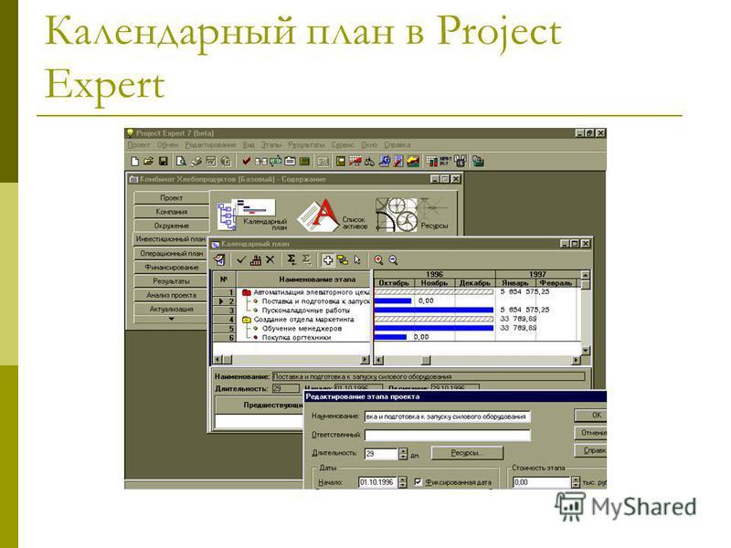 Календарный план в Project Expert