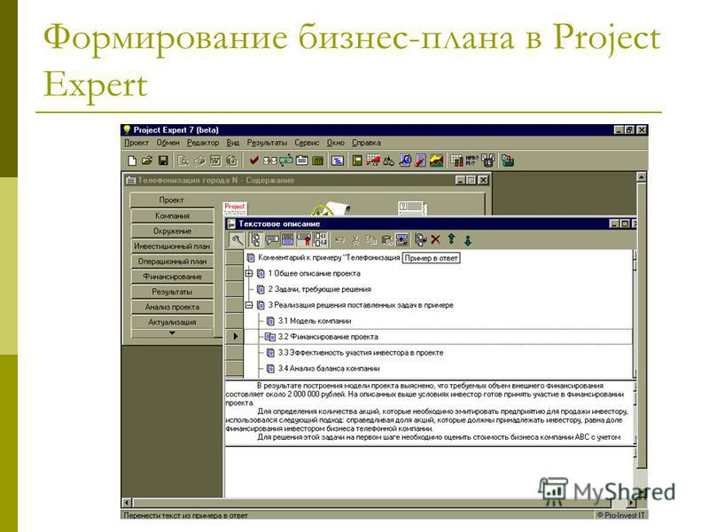 Формирование бизнес-плана в Project Expert