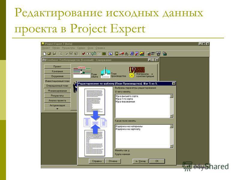 Редактирование исходных данных проекта в Project Expert