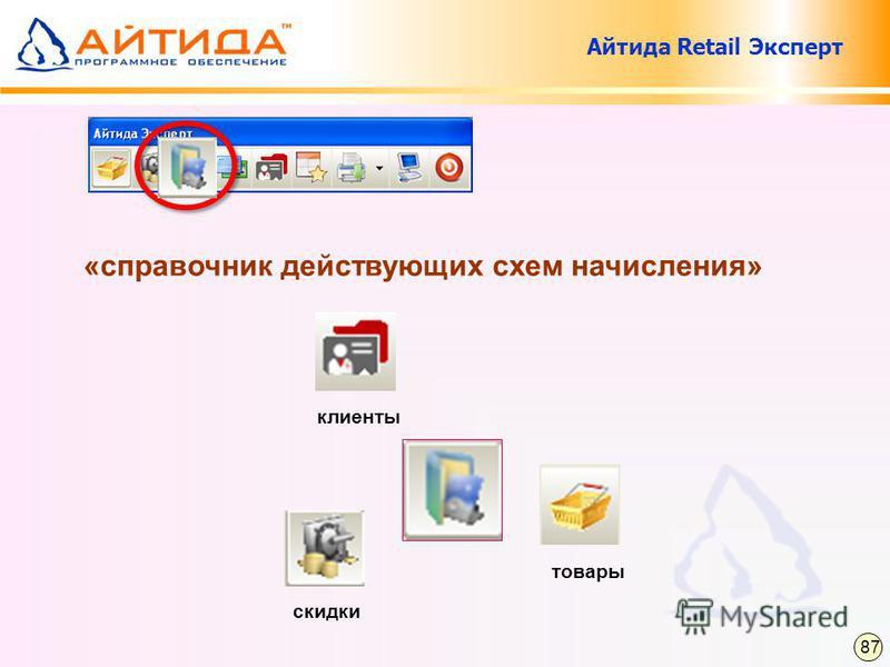 «справочник действующих схем начисления» клиенты скидки товары 87 Айтида Retail Эксперт