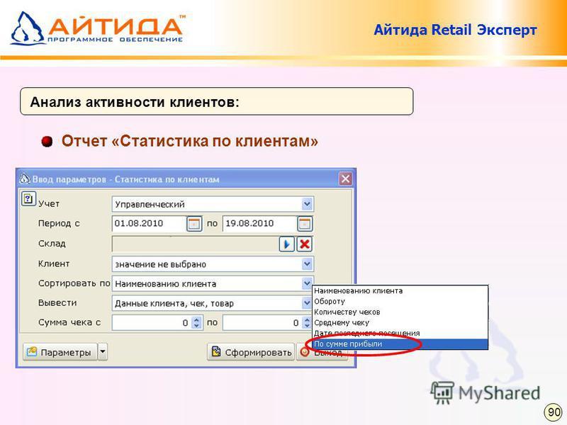 Отчет «Статистика по клиентам» Анализ активности клиентов: 90 Айтида Retail Эксперт