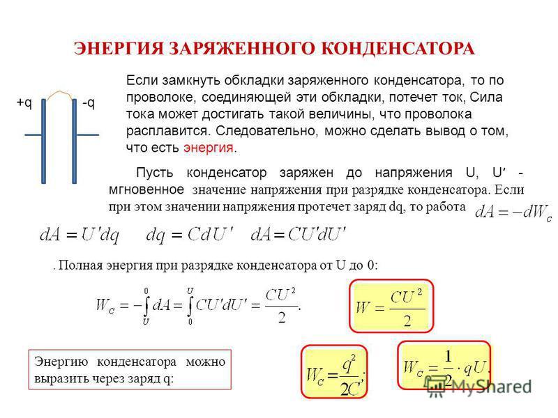 ЭНЕРГИЯ ЗАРЯЖЕННОГО КОНДЕНСАТОРА +q-q Если замкнуть обкладки заряженного конденсатора, то по проволоке, соединяющей эти обкладки, потечет ток, Сила тока может достигать такой величины, что проволока расплавится. Следовательно, можно сделать вывод о т