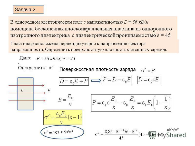 В однородном электрическом поле с напряженностью Е = 56 кВ/м помещена бесконечная плоскопараллельная пластина из однородного изотропного диэлектрика с диэлектрической проницаемостью ε = 45 Пластина расположена перпендикулярно к направлению вектора на