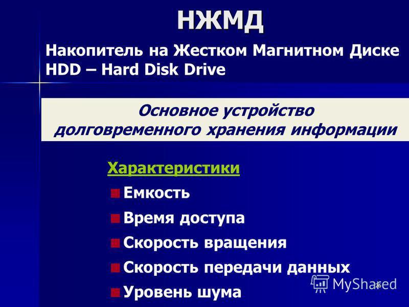 26НЖМД Накопитель на Жестком Магнитном Диске HDD – Hard Disk Drive Основное устройство долговременного хранения информации Характеристики Емкость Время доступа Скорость вращения Скорость передачи данных Уровень шума