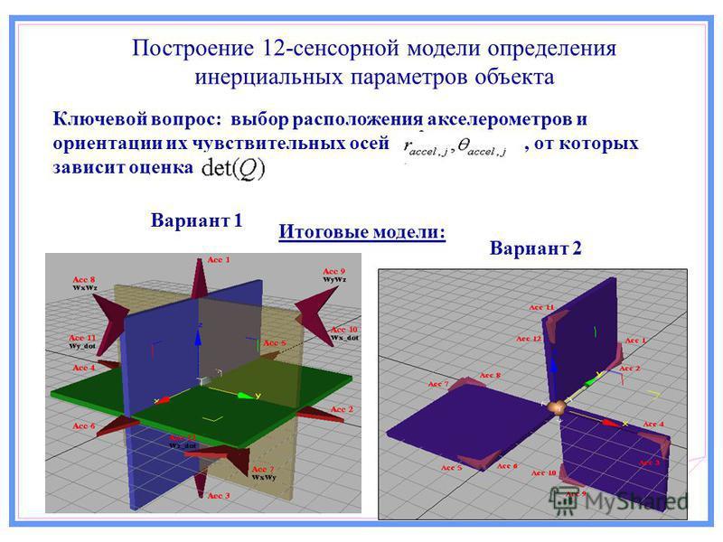 Построение 12-сенсорной модели определения инерциальных параметров объекта Итоговые модели: Вариант 1 Вариант 2 Ключевой вопрос: выбор расположения акселерометров и ориентации их чувствительных осей, от которых зависит оценка